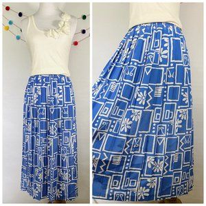 Plus Size Blue and White Pleated Skirt with Geomet
